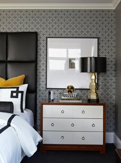 Bedroom - Big, bold & beautiful in black & white with a light dusting of gold for an accent for this contemporary style.
