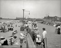 """The New Jersey shore circa 1905. """"Boardwalk and beach, Asbury Park."""" 8x10 inch dry plate glass negative, Detroit Publishing Company."""