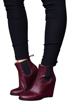 Oxblood Wedge Ankle Boots