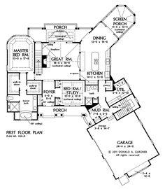 First Floor Plan of The Butler Ridge - House Plan Number 1320-D
