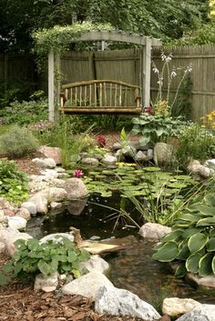 Rustic Swing by Water Garden