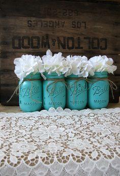 Mason Jars, Painted Mason Jars, Rustic Wedding Centerpieces, Party Decorations, Turquoise Wedding - So cute!!!