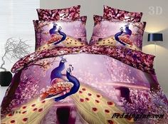 #peacock #cotton #bedding  100% Cotton Gorgeous Peacock 3D Printed 4 Piece Bedding Sets  Buy link-->http://goo.gl/TkTh7z Live a better life,start with @beddinginn