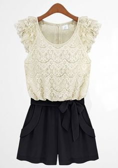 White Color Block Belt Short Lace Jumpsuit Pant @Hannah Mestel Mestel Mestel Mestel Mestel Marie this would be so cute on you!