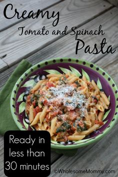 REAL Food, REAL Fast: Creamy Tomato and Spinach Pasta #meatless #vegetarian #REALfood  From WholesomeMommy.com