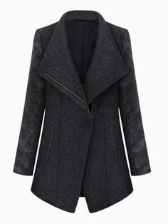 Zipped Coat With Leather Look Sleeve $104.99