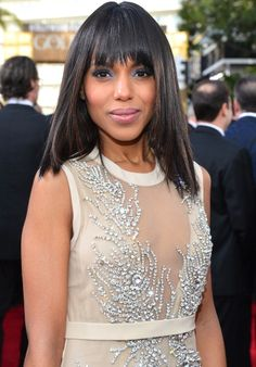 Red Carpet Beauty: Kerry Washington Goes Straight For The Golden Globes with Drug Store Hair Products- FocusOnStyle.com
