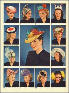 There only were a few new styles that became trademarks of the 1940s because this time period head wear was very diverse :the beret- a one piece round, flat, french inspired hat that sat directly on top or angled off to the side;the turban- a piece of fabric wrapped around the head and What Did Women Wear in the 1940s? decorated with flowers, feathers or jewels... But as you can see,all of these hat styles were not practical for sun protection, merely decorative.