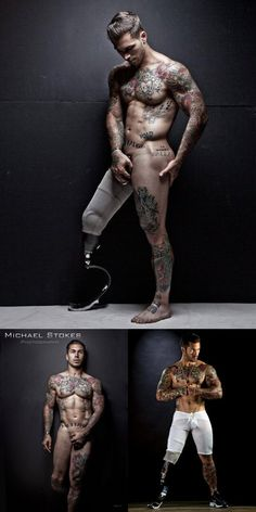 cumberbitchsandwich: mikestand: Dirty Dudes: Alex Minsky Marine Lance Cpl. Alex Minsky is an Afghan war veteran who lost his leg after his truck rolled over an IED (improvised explosive device). PhotographerTom Cullissaw Alex at the gym an immediately recruited him to model. Alex has gone on to shoot forMichael StokesJustin Monroe. FUCK YEAH TATTOOS Still sexy as hell