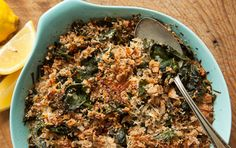 COLLARD GREENS GRATIN. - This creamy gratin of collard greens and crunchy parmesan bread crumbs is an ideal side dish for family meals, or top servings with a fried egg for a main course.