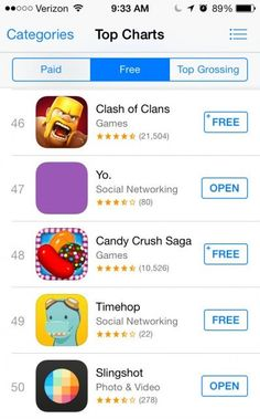 'YO' App beats Facebook's Slingshot on iOS Store