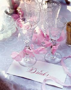 pink ribbons, glass, iced tea, crystal, parti idea