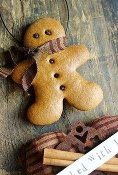 How To Make Gingerbread Man Ornaments ~ That won't rot and will last for years! #Christmas #ornament #primitive #diy