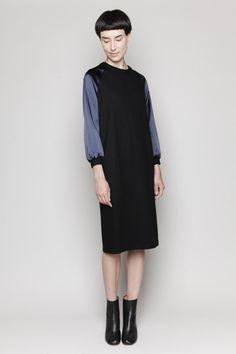 Totokaelo - Jil Sander - Satin Sleeve Dress - Black/Midnight