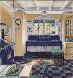 1930's kitchen - This pretty 1930 kitchen appeared in House & Garden magazine. Crane was advertising their Corwith model sink. We were particularly smitten with the classic yellow and bright navy blue color scheme with green and gray accents.