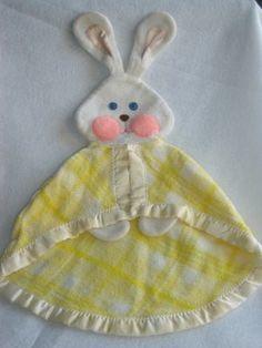 Vintage 1979 Fisher Price Yellow Plaid Bunny Rabbit Security Blanket