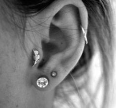studs, feather earrings, tragus, style, ear piercings, ears, tattoo, leaves, feathers
