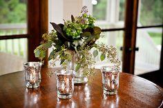 greenery centerpiece in mercury glass