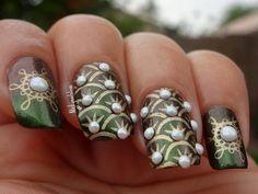 Pearl Collection #nickynailslove #green gold pearlsmani nailart #polish #nails - bellashoot.com