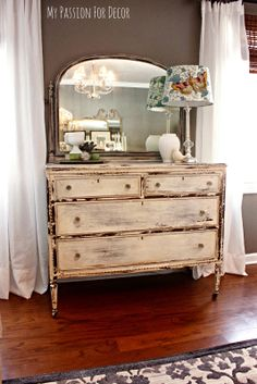 My Passion For Decor dresser painted in Miss Mustard Seed's Milk Paint in Linen.