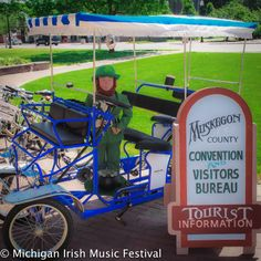 What a perfect rent one of those cute surrey bikes from the Muskegon County Convention and Visitors Bureau. Larry the Leprechaun is going to bike along our lovely lakeshore trail and cruise by our Festival site! #mimf2014