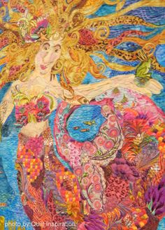 Mermaiden, in:  Deep Sea Fantasy, diptych, quilt by Christina Belding.  2014 Road to California.  Photo by Quilt Inspiration