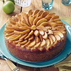 Caramel-Apple Cheesecake | Caramelized apples are artfully arranged on top of this rich and delicious cheesecake for a perfect dessert. | SouthernLiving.com