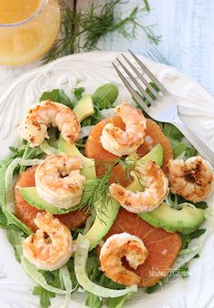 This delightful Spring salad is made with grilled shrimp, avocado, shaved fennel and oranges with a citrus vinaigrette. shrimp avocado, grill shrimp, fennel, salad recipes, healthy salads, healthy eating, healthy seafood, orang salad, grilled shrimp
