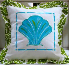 SALE Blue and Green Scallop Shell Beach Pillow by LemondaisyDesign, $68.00