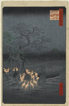 Utagawa Hiroshige, New Year's Eve Foxfires at the Changing Tree, Oji from One Hundred Views of Edo, 1857.