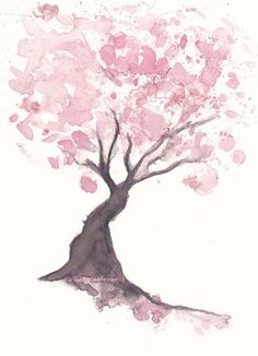 Pink Cherry Blossom Tree Watercolor Painting Art by littlecatdraw