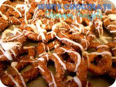 White Chocolate Cinnamon Pretzels from sixsistersstuff.com #Snack #Recipe