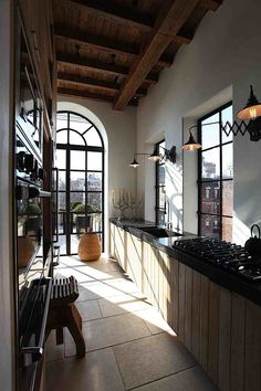 East Village Penthouse galley kitchen - no cabinets, just views