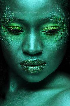 lip, metal, paint green, fairi, green bodi, green eyes, paints, glitter, bodi paint