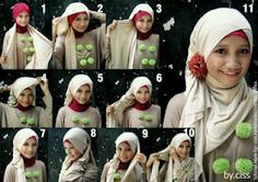 Long rectangular hijab scarf... fun fashion wrap how-to. fashion hijab tutorial, how to hijab, hijab styles
