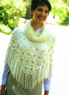 Poncho Flor 4 Petalos con Cuello Instrucciones - Patrones Crochet