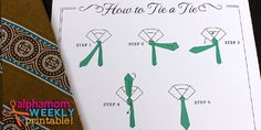 How To Tie a Tie Printable Tutorial Card for Dads and Grads | Alphamom - include this free printable with a tie!