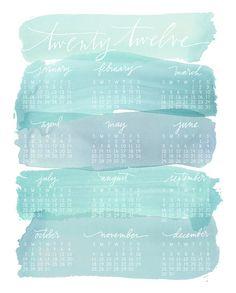 2012 calendar / watercolor wash