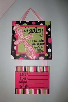 Custom Hospital Door Hanger. Scripture Cross and Coordinate with Nursery Colors. $45.00, via Etsy.