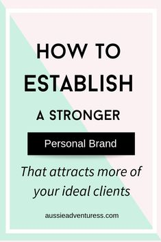 How to establish a stronger personal brand - Today let's talk about some simple tweaks you can make on your social media profiles to establish a stronger personal brand and attract more of your ideal clients.