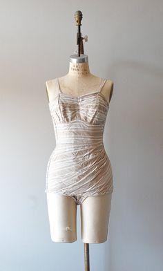 1950s Ticking Stripe cotton swimsuit |