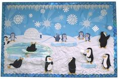 """The details that have been put into this winter penguin bulletin board display are awesome.  I would add a caption to the display that includes the phrase(s) cool or chill out, such as  """"Chill Out With a Good Book."""""""