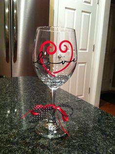 Personalized Valentines Wine Glass. . $10.00, via Etsy.