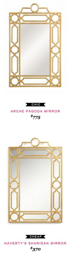 ARCHE PAGODA MIRROR $775  -vs-  HAVERTY'S SHARIDAN MIRROR $370