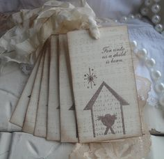 Christmas Gift Tags - Baby Jesus - Away in A Manger - Shabby Chic Christmas. $6.75, via Etsy.