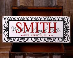 Custom, personalized sign with vinyl - Customize with phrase, family names - HOLIDAY, wedding, anniversary, housewarming gift (BAUER)