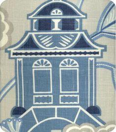 Emperor's Garden Blue Grey Linen Fabric
