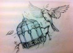 Caged Bird tattoo - I'd like something more dramatic; the cage breaking, you know