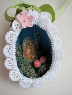 OOAK Easter Egg Diorama Ornament - Vintage Style Papier Mache - Panorama Shadowbox - Sugar Egg Keepsake Decor - Victorian. $32.00, via Etsy.
