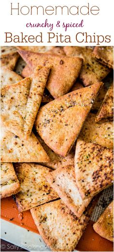 Ditch the store-bought, these homemade spiced crunchy baked pita chips are so much better! And so easy.